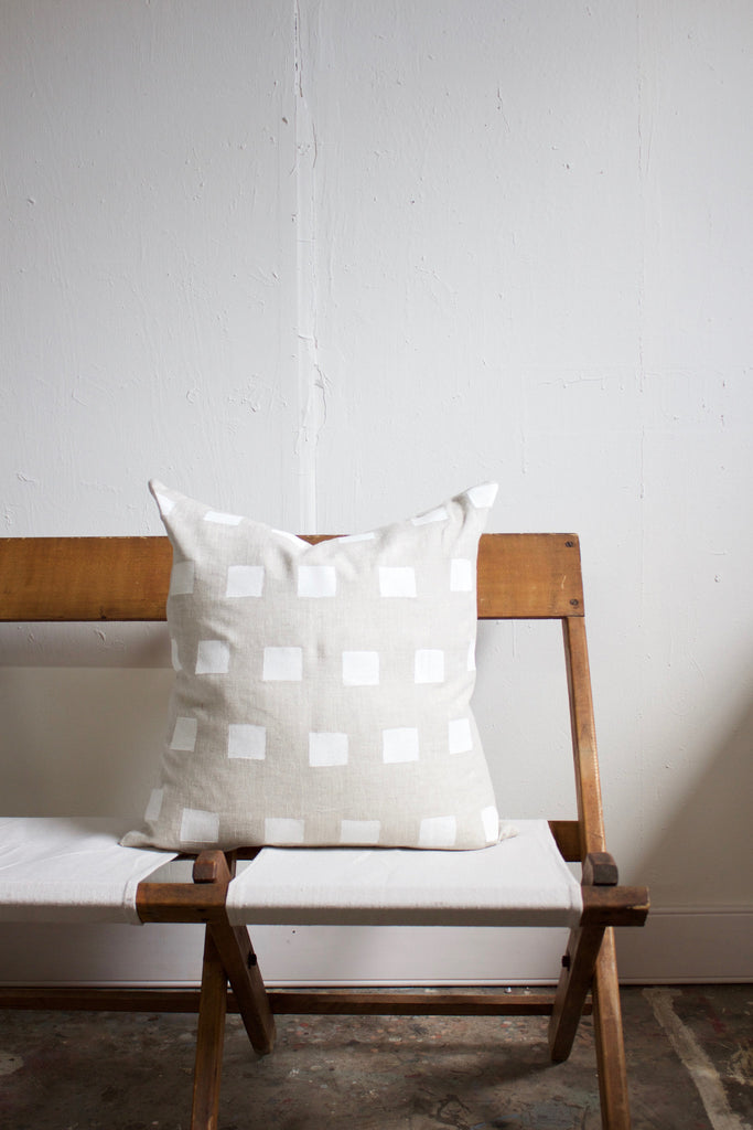 Hand block printed modern simple linen pillow.