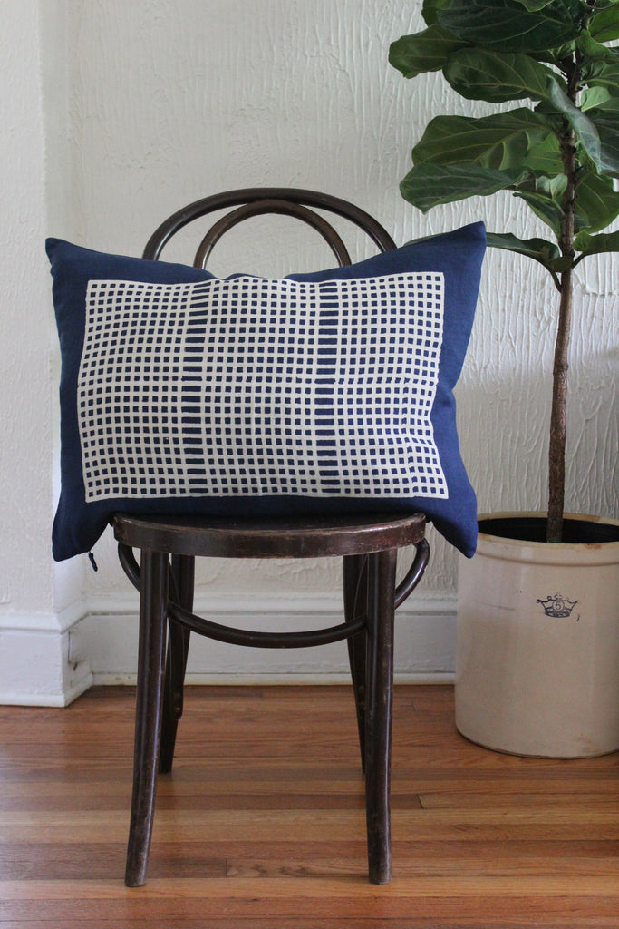 Wide weave design, indigo block printed linen pillow.