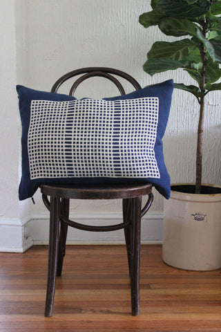 Wide Weave Indigo Block Print Linen Pillow