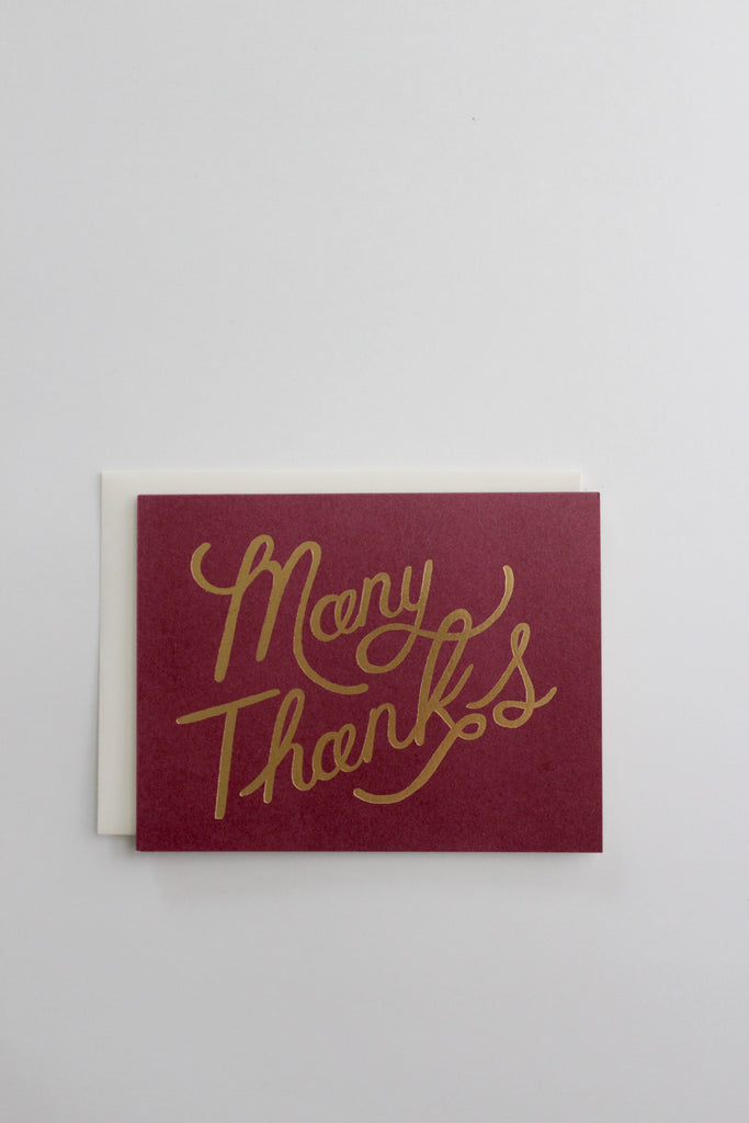 Many thanks shimmery gold greeting cards made in the USA.