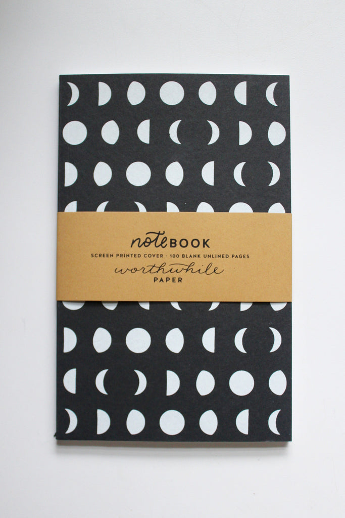 Phases of the moon notebook made with recycled paper in the USA.