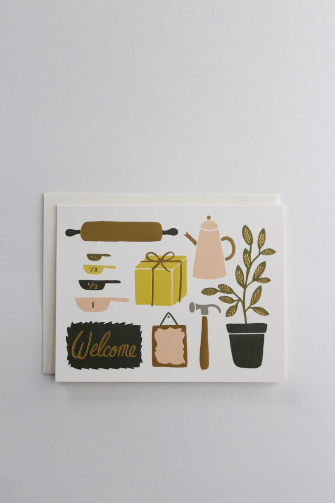 Welcome your friends into their new home with this housewarming greeting card!