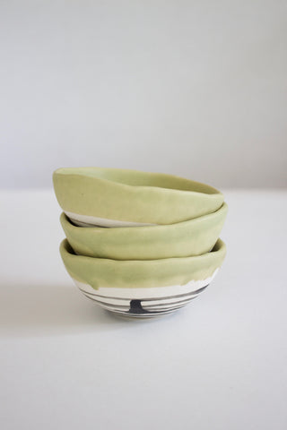 Sage Striped Porcelain Clay Small Bowl