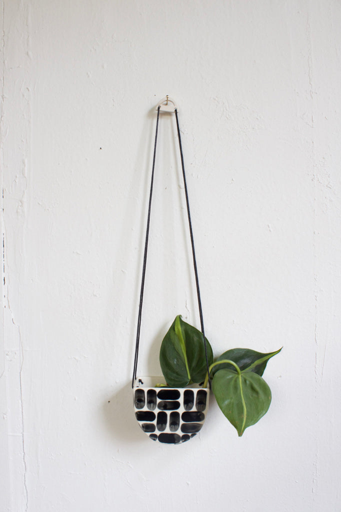 Ceramic hand painted hanging planter made in the USA.