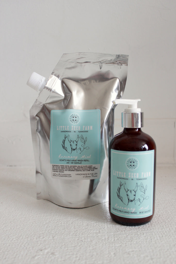 Organic, non-GMO, refill liquid goat's milk soap in rosemary mint.