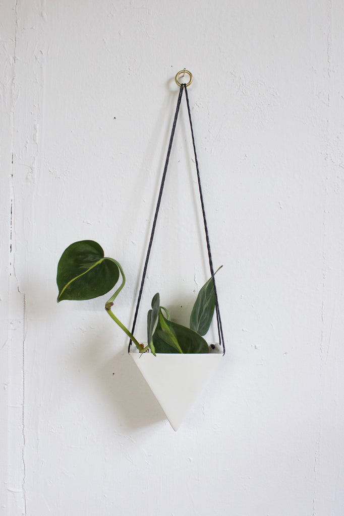Hanging porcelain planter in white and handmade in the USA.
