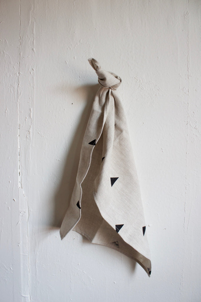 Linen triangle towel made in the USA by Caroline Z. Hurley.