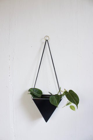 Large Porcelain Triangle Hanging Planter, Black