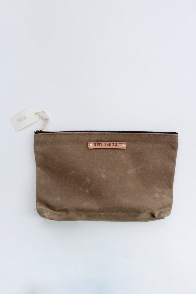 Sustainably made waxed canvas pouch.
