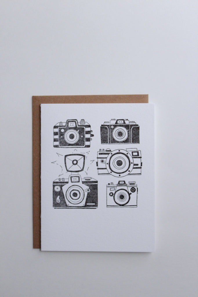 Vintage camera photography greeting card hand illustrated.