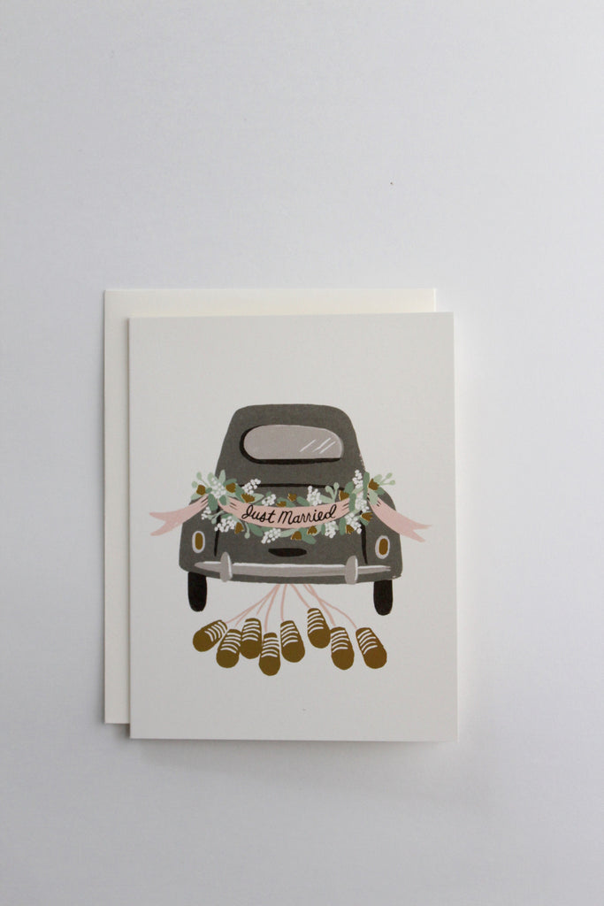 Vintage wedding car send off greeting card by Rifle Paper Co.