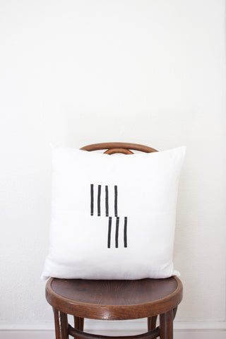 White Linen Block Printed Dash Pillow