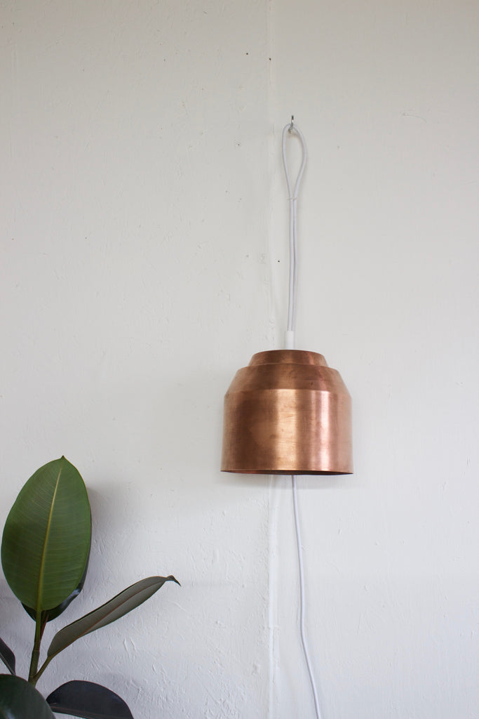 Copper modern pendant hanging light by Yield.