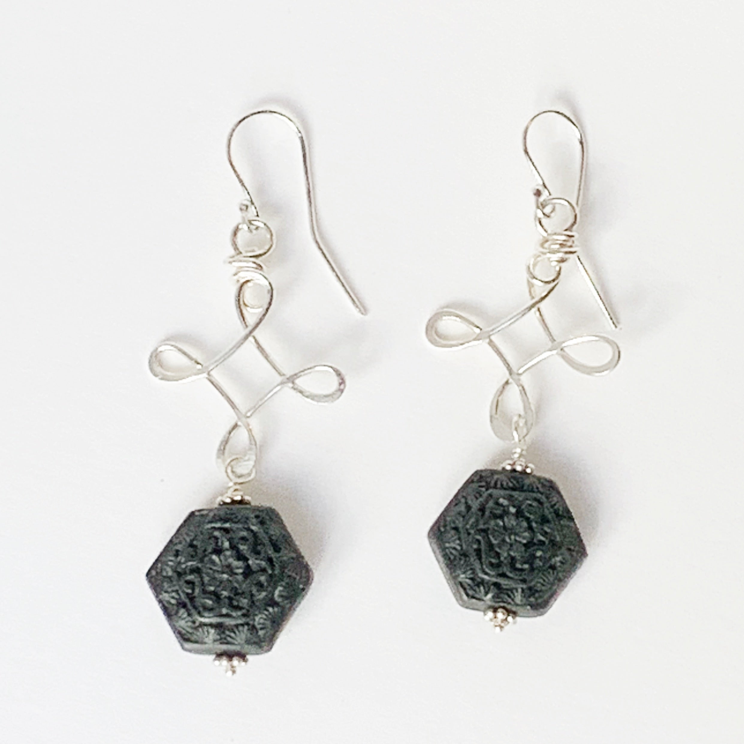 e4afad473 Carved black wood forged Twizzle Earrings