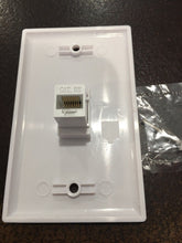 Load image into Gallery viewer, CMT: 1 Port White Wall Plate W/ CAT5e RJ45 Double Female Inline Coupler Ethernet Jack