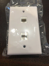 Load image into Gallery viewer, CMT: 2 Port White Wall Plate W/ CAT5e RJ45 Double Female Inline Coupler Ethernet Jack