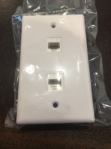 CMT: 2 Port White Wall Plate W/ CAT5e RJ45 Double Female Inline Coupler Ethernet Jack