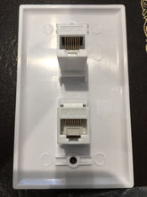 Load image into Gallery viewer, CMT: 2 Port White Wall Plate W/ CAT6 RJ45 Double Female Inline Coupler Ethernet Jack