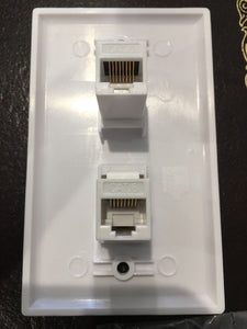 CMT: 2 Port White Wall Plate W/ CAT6 RJ45 Double Female Inline Coupler Ethernet Jack