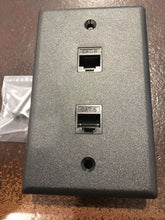 Load image into Gallery viewer, CMT:  2 Port Black Wall Plate W/ CAT6 RJ45 Double Female Inline Coupler Ethernet Jack