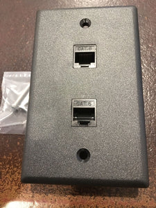 CMT:  2 Port Black Wall Plate W/ CAT6 RJ45 Double Female Inline Coupler Ethernet Jack