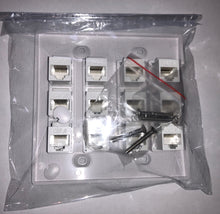 Load image into Gallery viewer, CMT: 12 Port White Wall Plate W/ CAT6 RJ45 Double Female Inline Coupler Ethernet
