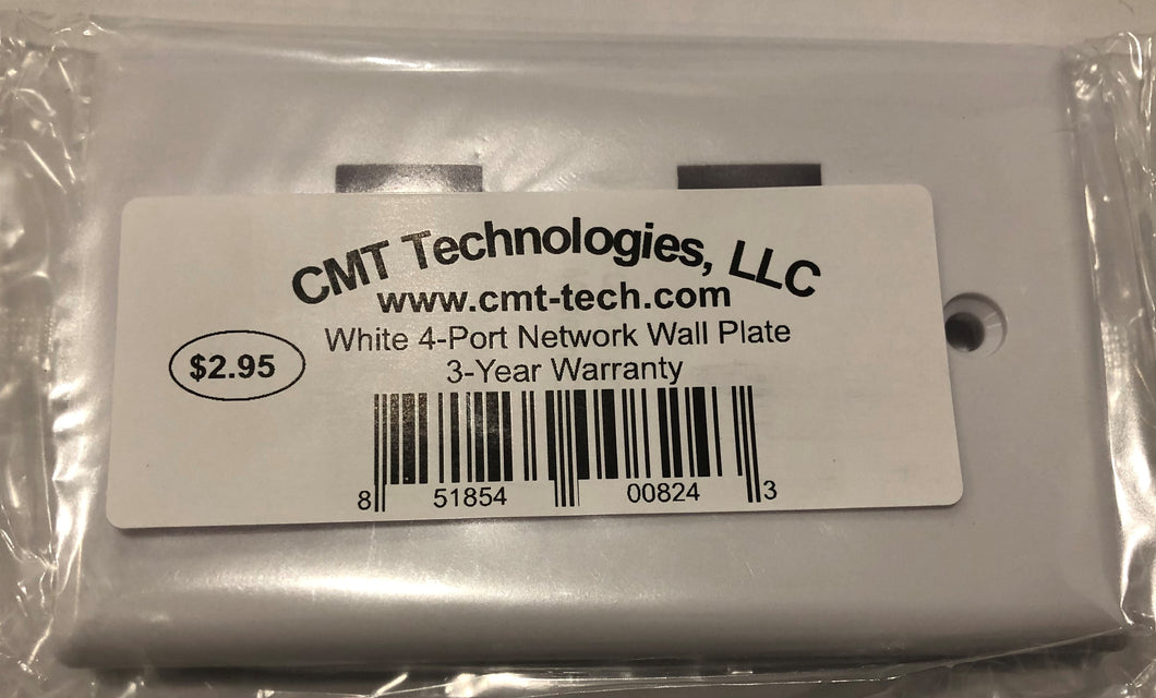 White 4-Port Jack RJ45 CAT Network Faceplate Wall Plate