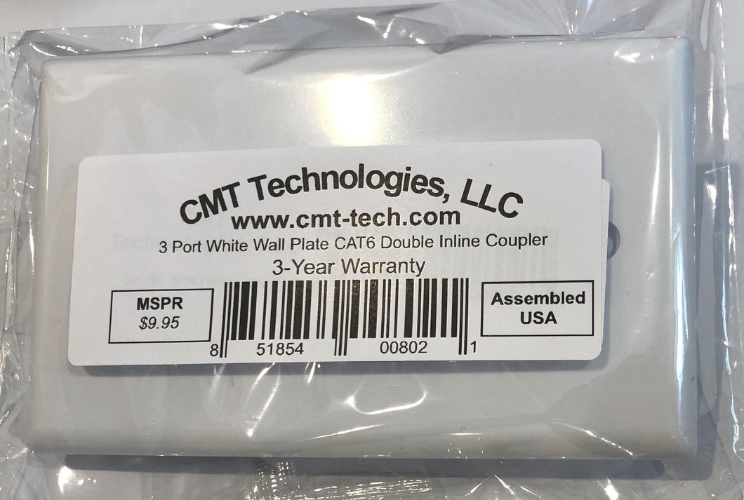 CMT: 3 Port White Wall Plate W/ CAT6 RJ45 Double Female Inline Coupler Ethernet Jack