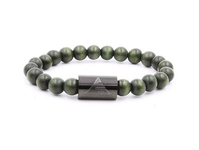Forest Green Wood Bead Bracelet - Co. 82