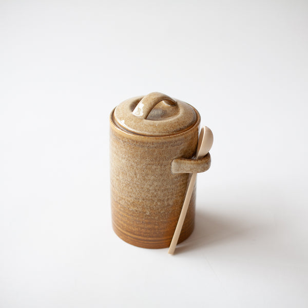 Stoneware Jar with Wood Spoon