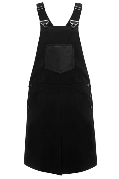 black mid length overalls with black leather accents