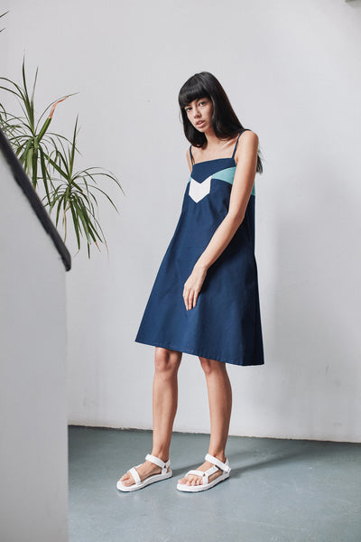 Roxy jo navy twill spaghetti strap dress-made to order