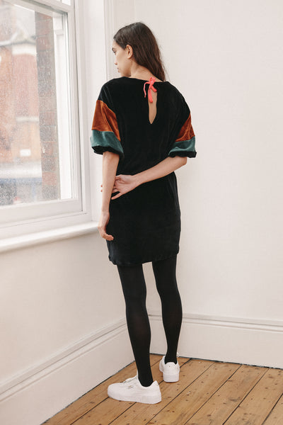 RIYKA Jean black organic cotton mini dress