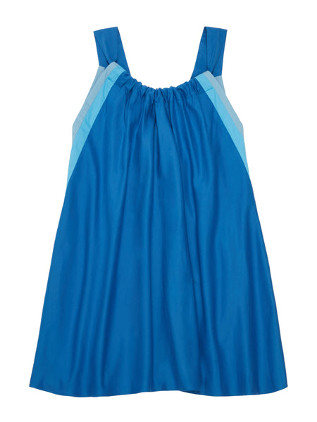 RIYKA Livia dress in blue combo flat front