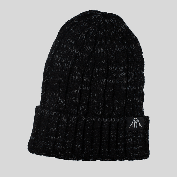 Upper Playground - Lux - UP Cable Cuff Beanie in Heather Black