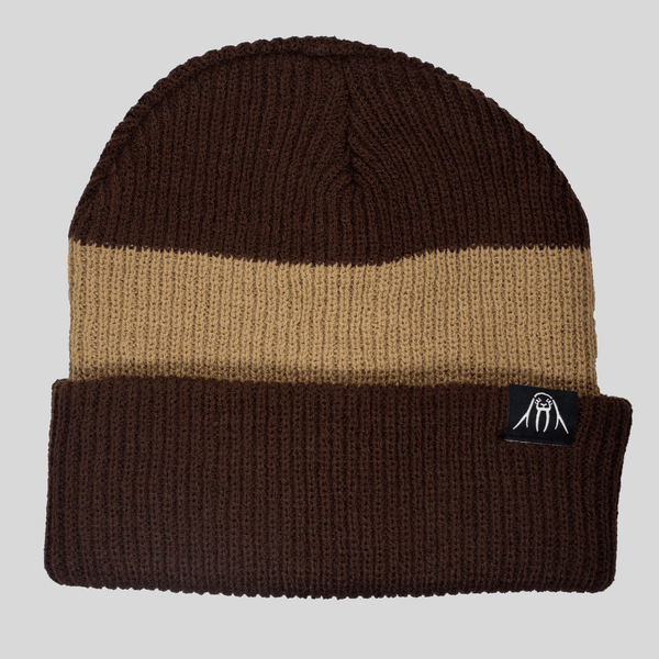 Upper Playground - Lux - Two Tone Cuff Beanie in Brown & Tan