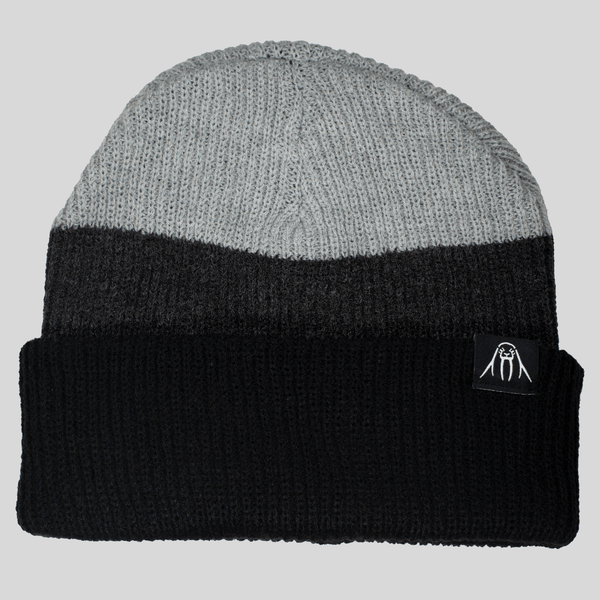 Upper Playground - Lux - Tri Tone Cuff Beanie in Black & Gray