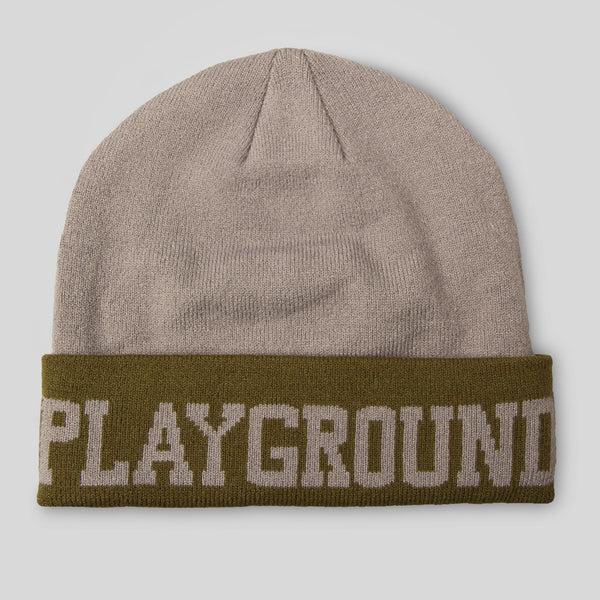 Upper Playground - Bipolar Cuff Beanie in Gray & Olive