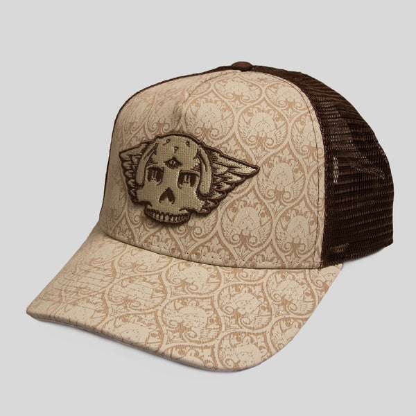 Upper Playground - Lux - BUNNY WINGS MESH SNAPBACK IN BROWN by Jeremy Fish