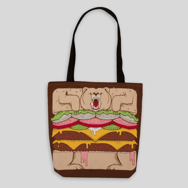 Upper Playground - Burger Bear Tote by Jeremy Fish