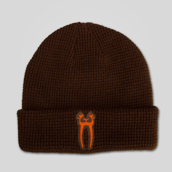 Upper Playground - Lux - Eyes Only Waffle Beanie in Brown