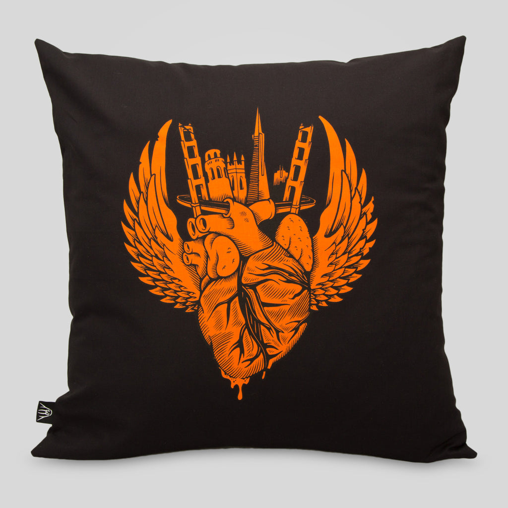 superfishal - I Left My Heart in SF Pillow By Jeremy Fish