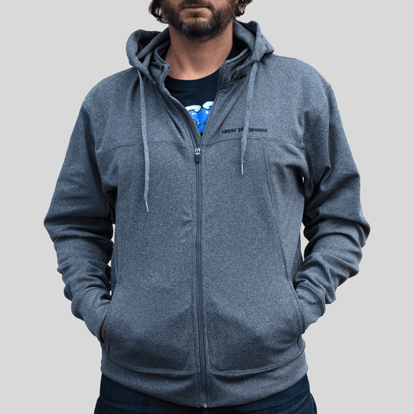 Upper Playground - Lux - LOGO BAR ZIP HOODIE IN CHARCOAL