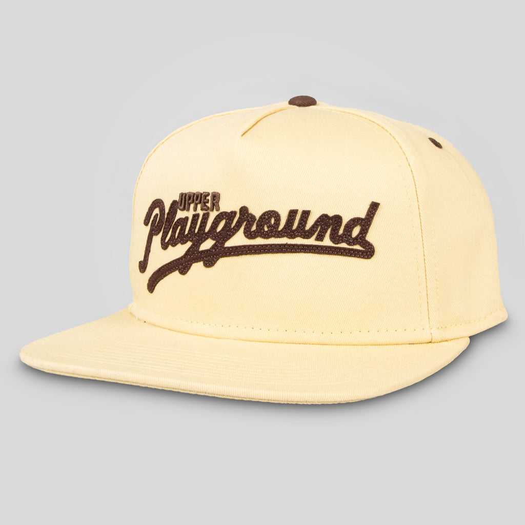 Upper Playground - Sandlot Script Snapback in Tan