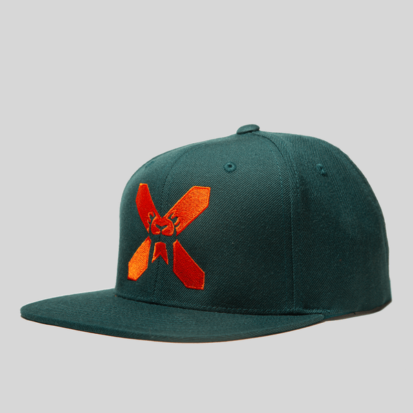 Upper Playground - Lux - X-EYES FRONT SNAPBACK IN FOREST GREEN