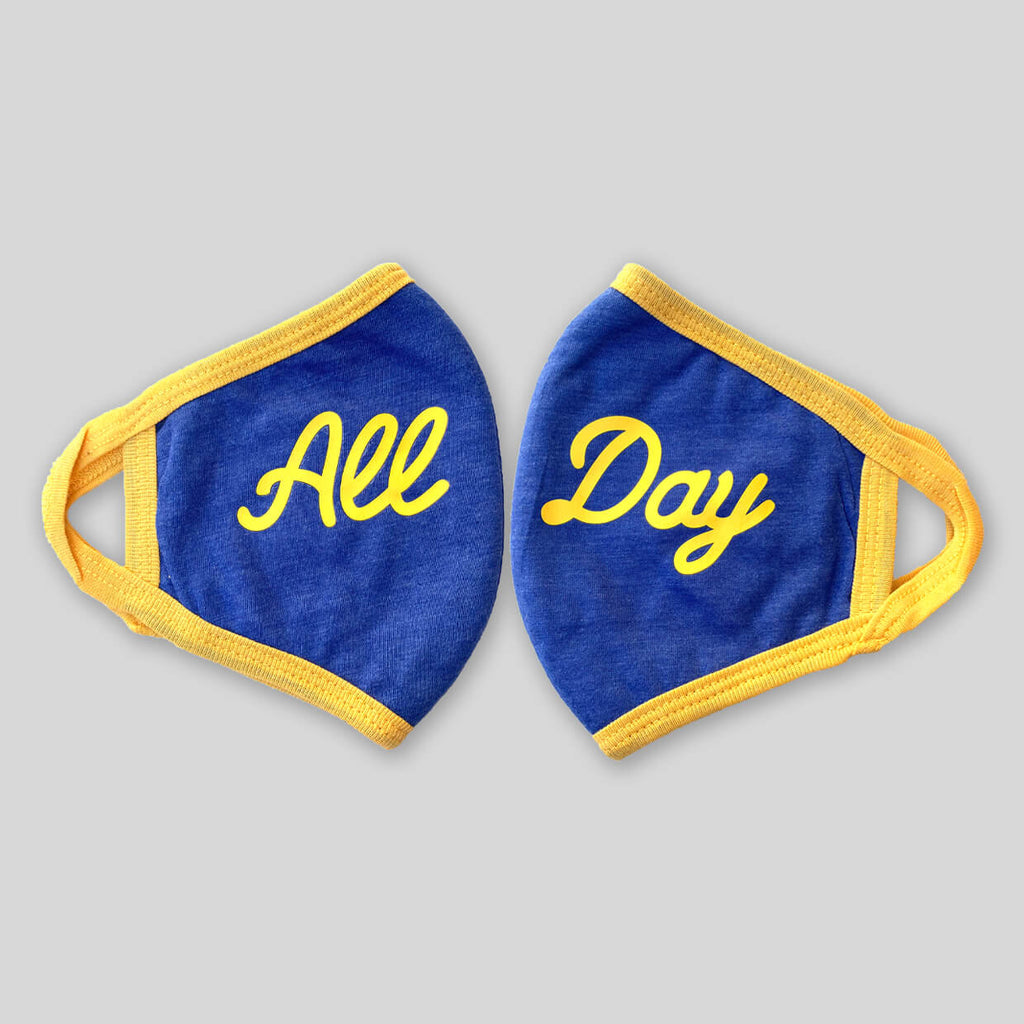 Upper Playground - Lux - NEW! -  ALL DAY IN ROYAL/GOLD 4 PLY COTTON FACE MASK