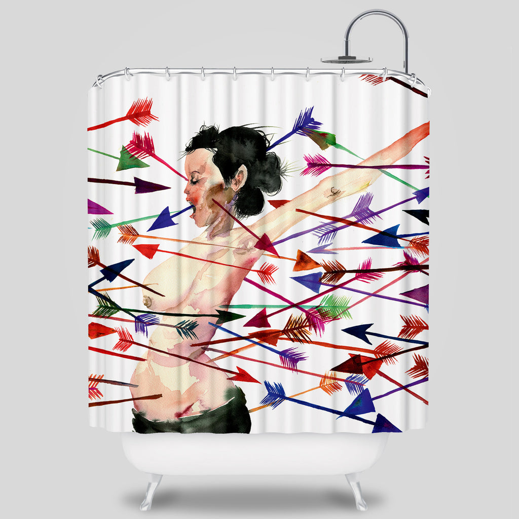 David Choe - No Matter How Hard I Try I Still Can't Give You What You Want Shower Curtain by David Choe
