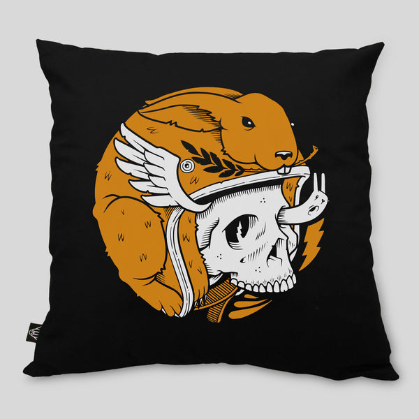 MWW - Bunny Biker Pillow by Jeremy Fish