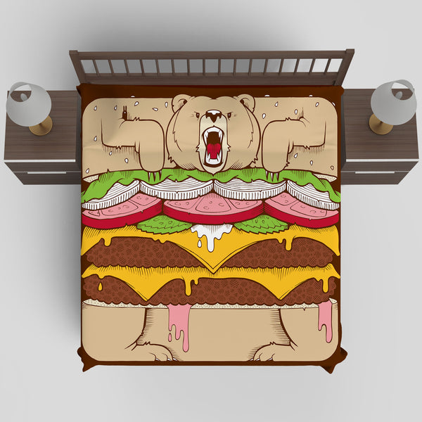 Upper Playground - Burger Bear Duvet Cover by Jeremy Fish