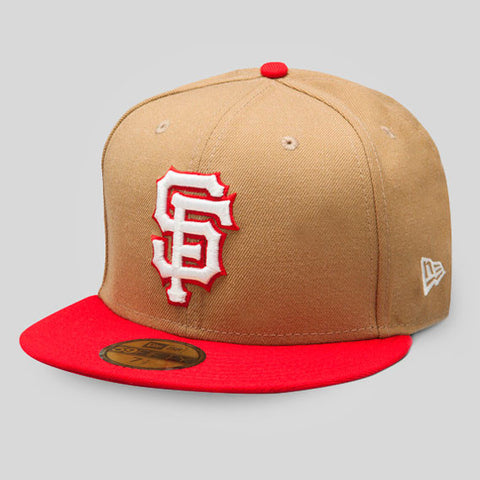 66fd1888f28 Upper Playground - Lux - SF Giants New Era Fitted Cap in Khaki Red